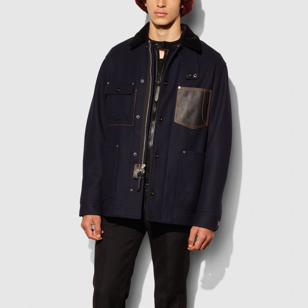 Coach Indigo Wool Barn Jacket