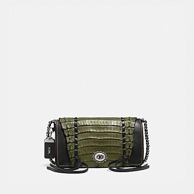 DINKY棒球手套鞣製皮革鎖縫鱷魚皮鑲邊手袋