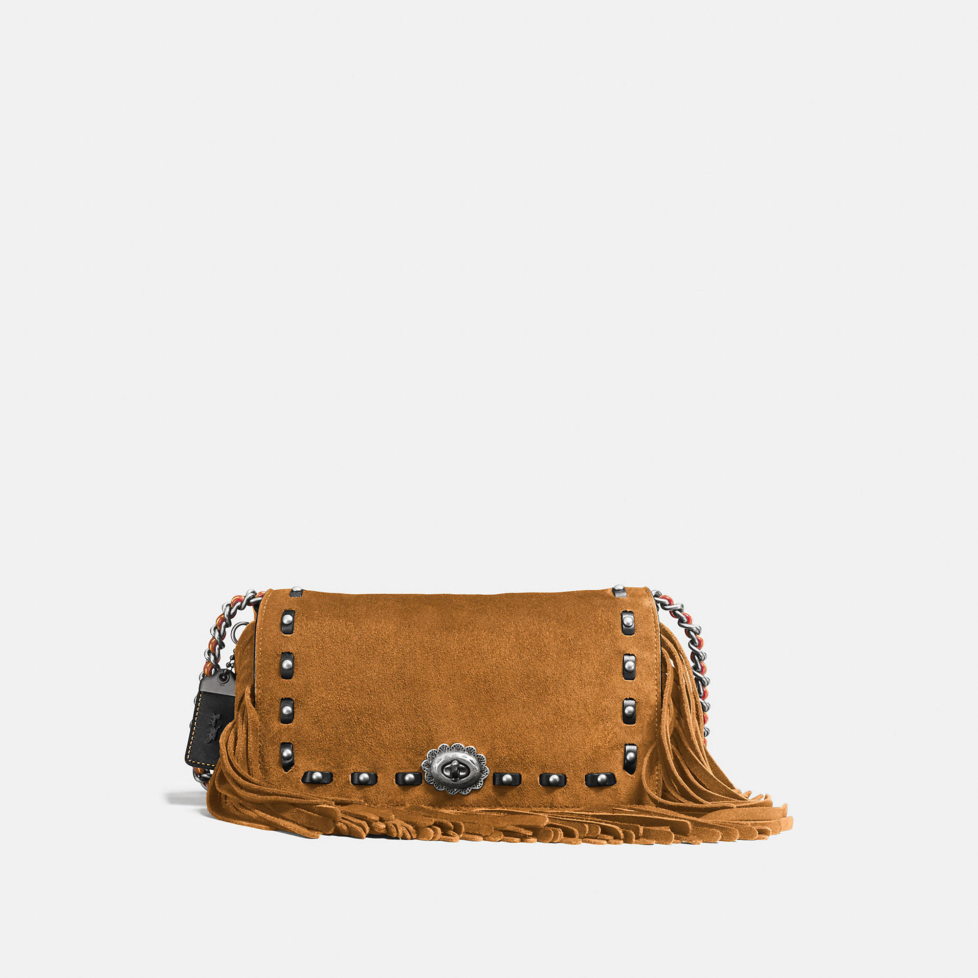 Coach Dinky In Cervo Suede With Fringe