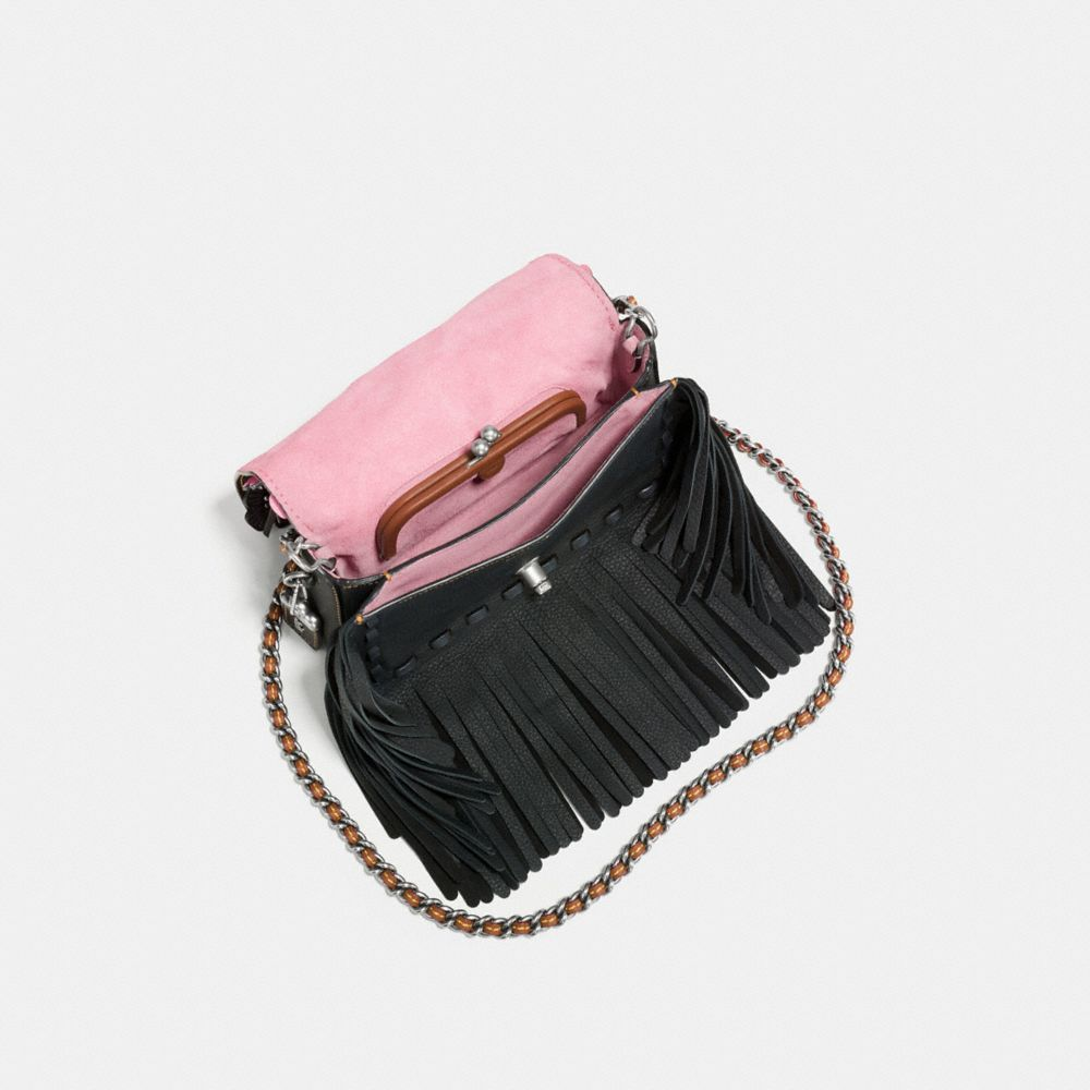 DINKY IN NATURAL PEBBLE LEATHER WITH WILD TEA ROSE FRINGE - Alternate View