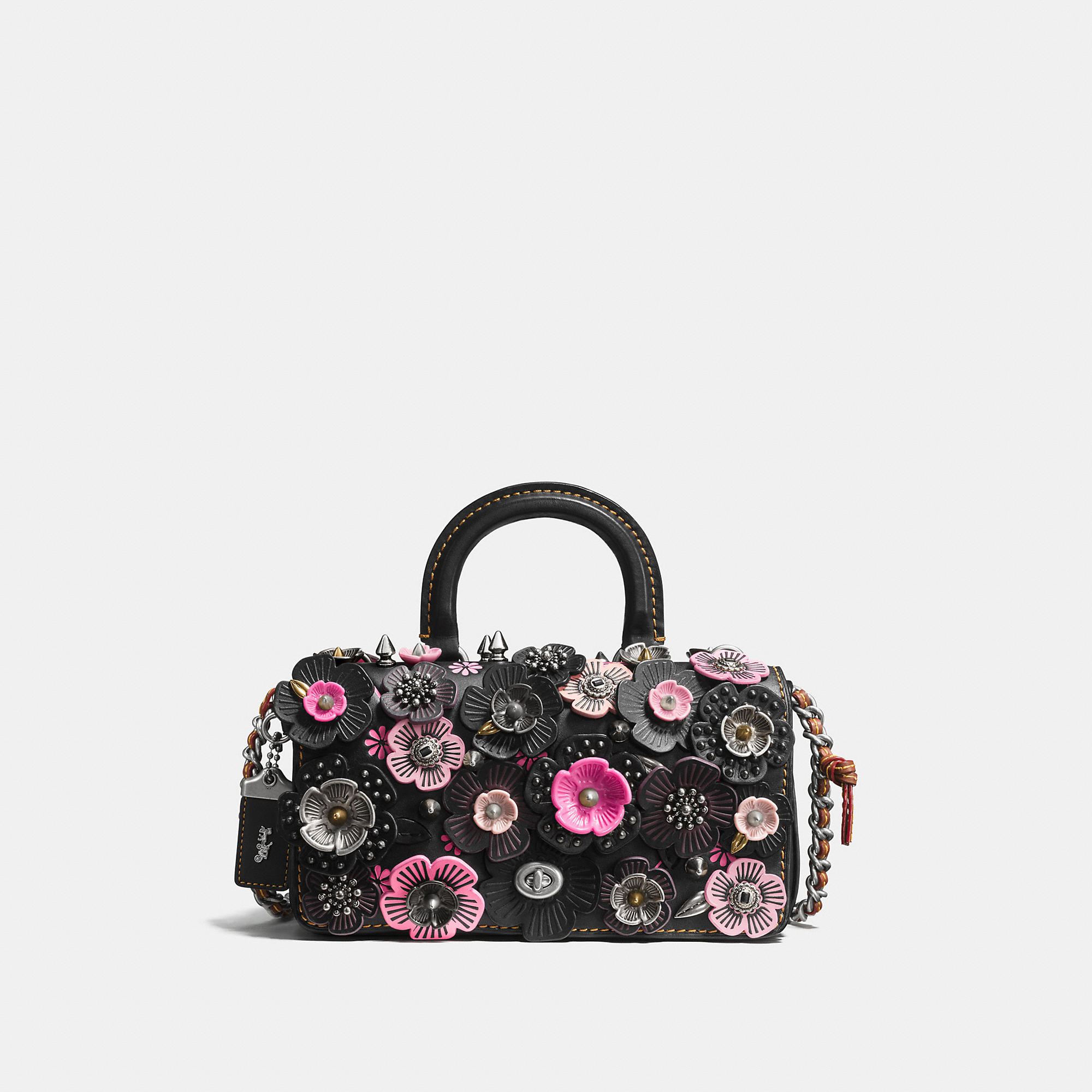 Coach Double Dinky In Glovetanned Leather With Wild Tea Rose