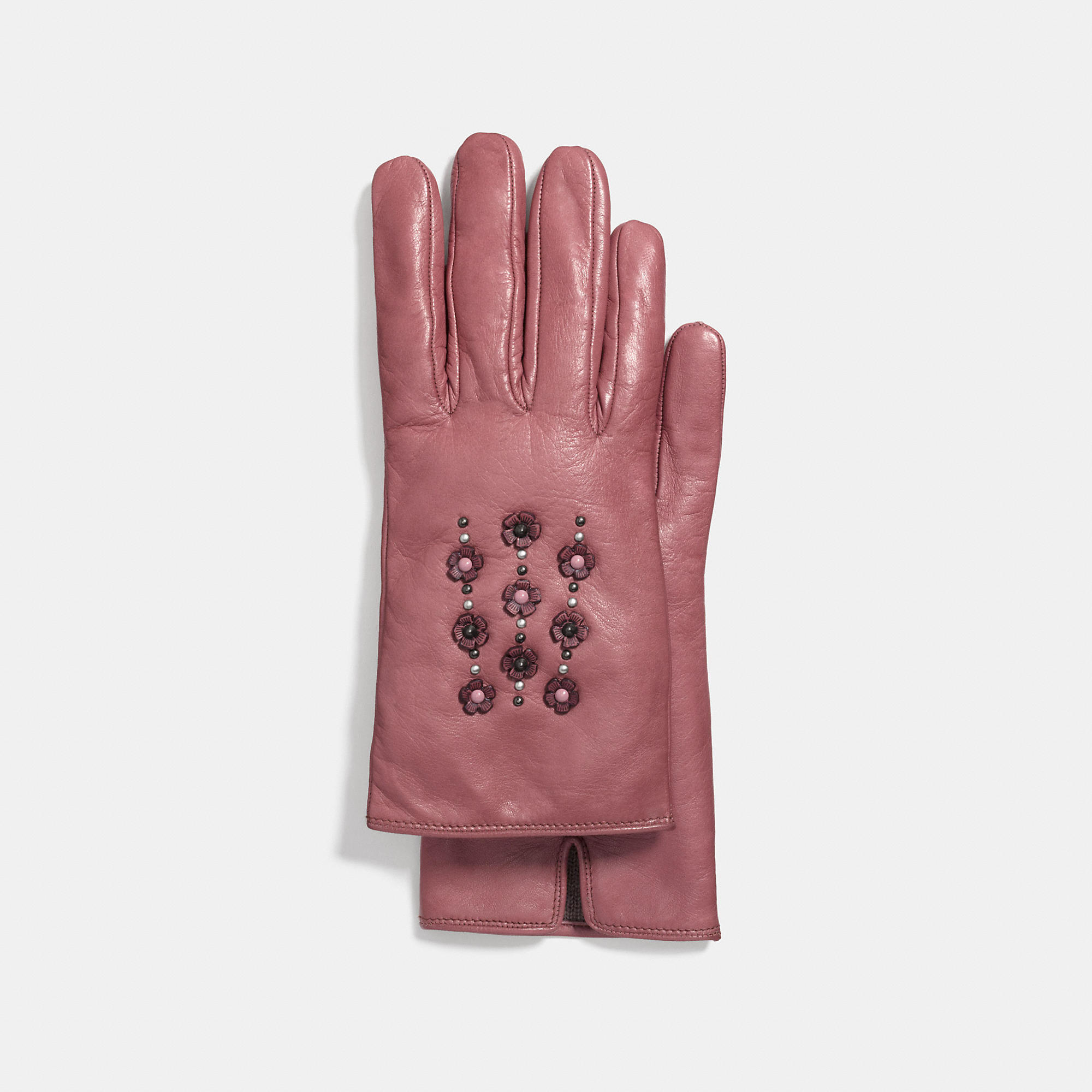 Coach Tea Rose Embellished Leather Glove