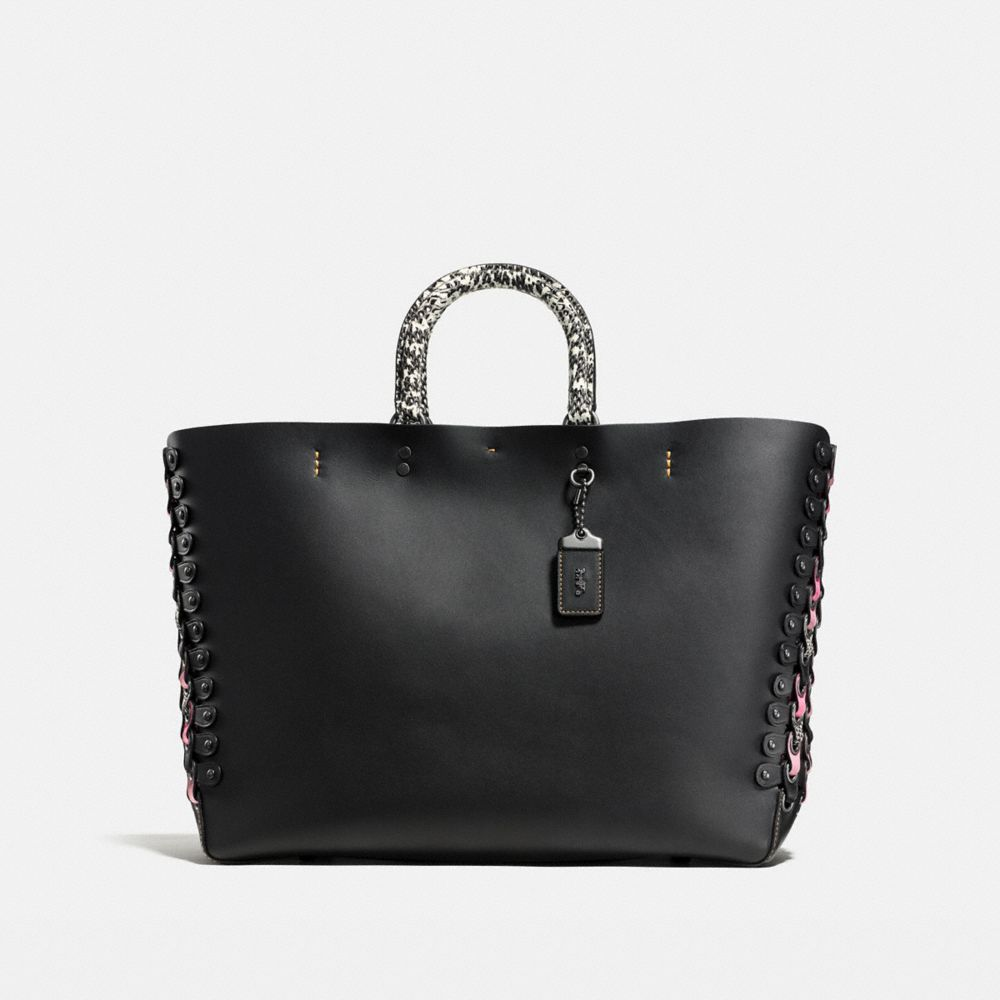 Coach Rogue Tote With Exotic Coach Link Leather Detail