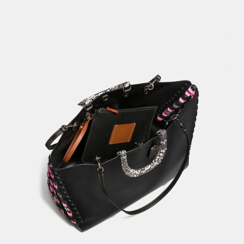 Coach Rogue Tote With Exotic Coach Link Leather Detail Alternate View 3