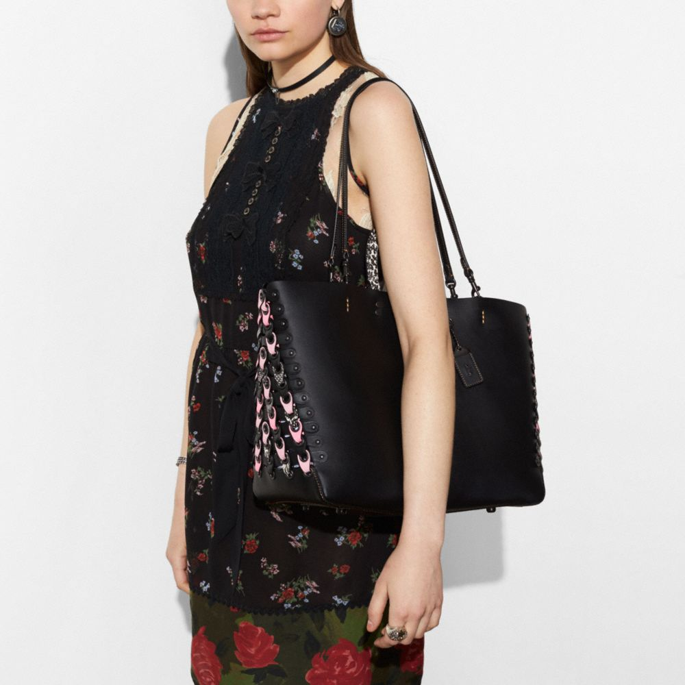 Coach Rogue Tote With Exotic Coach Link Leather Detail Alternate View 4