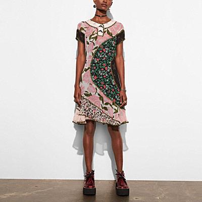 拼接印花圓裙洋裝