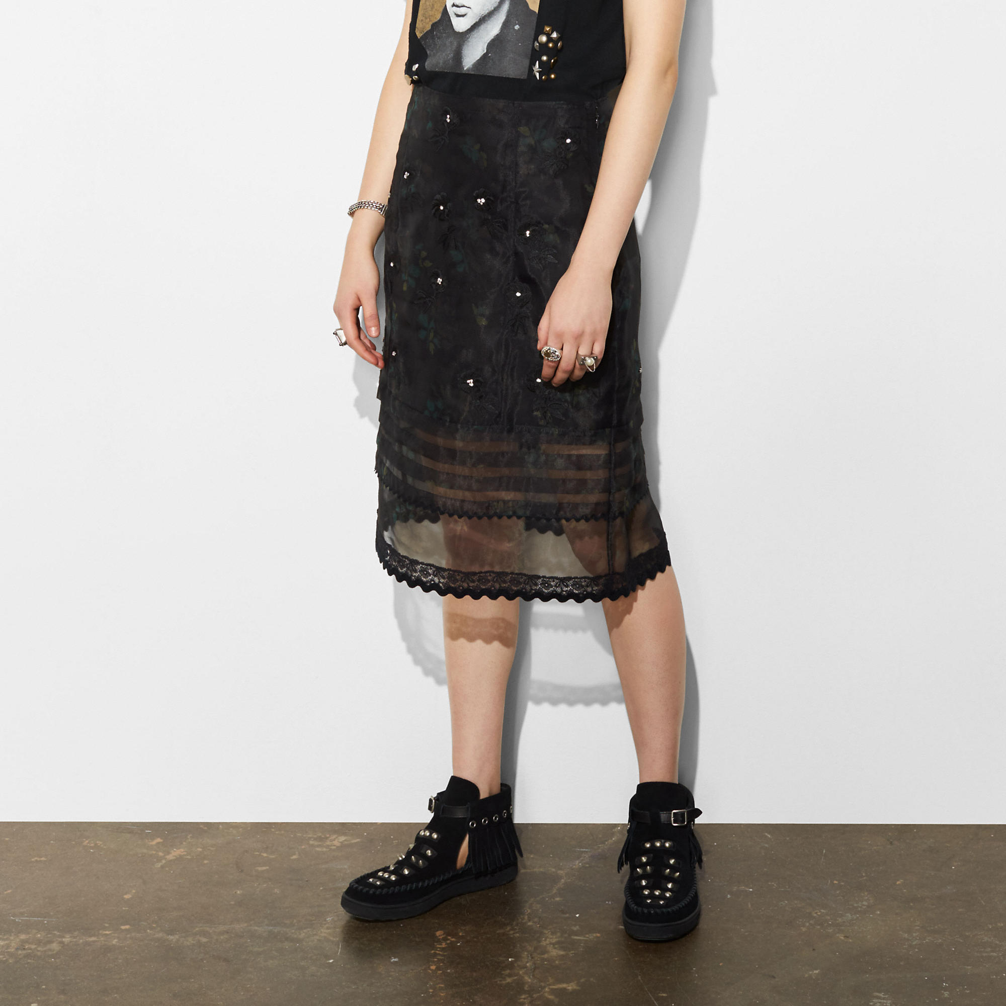 Coach Embroidered Sheer Skirt With Pleats