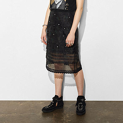 EMBROIDERED SHEER SKIRT WITH PLEATS