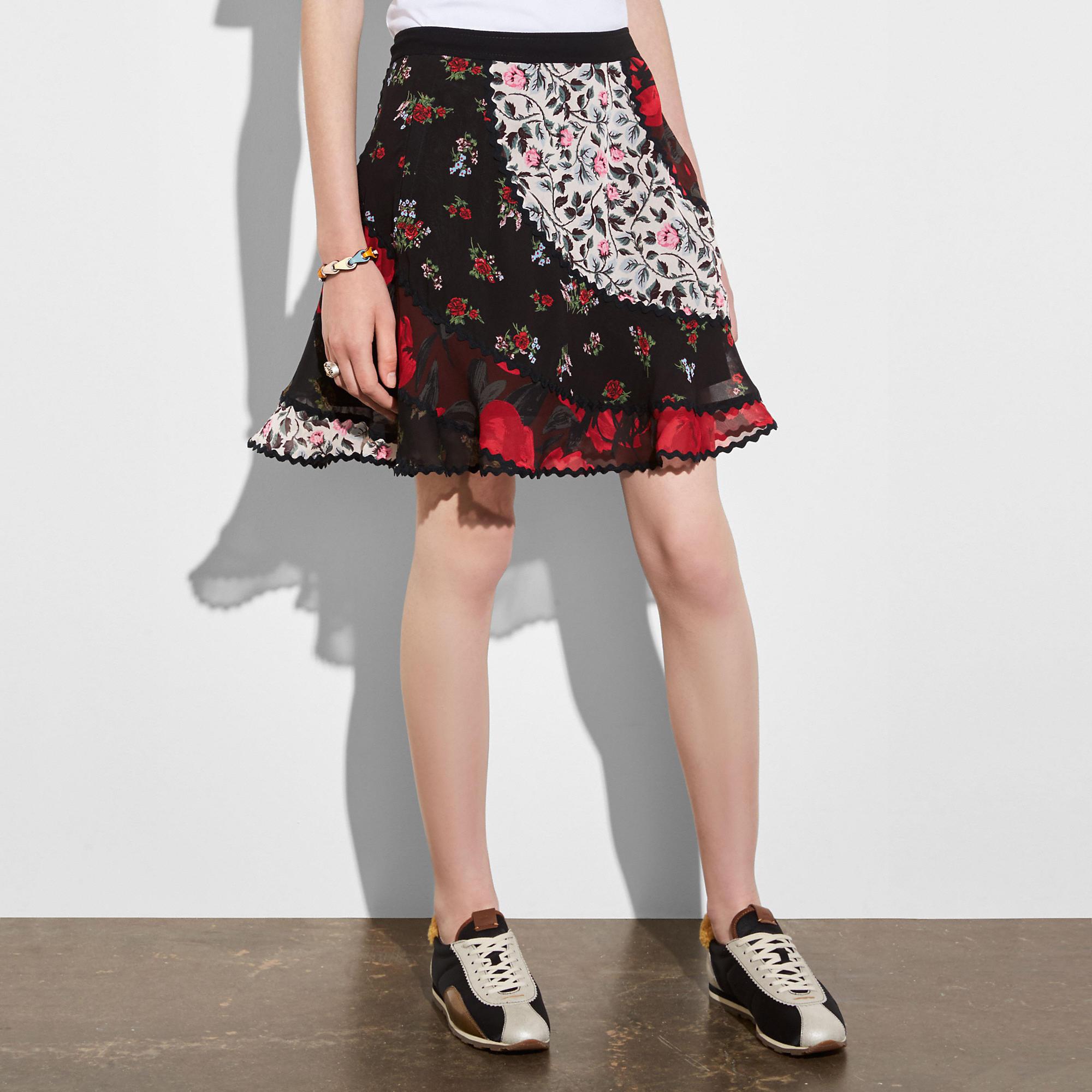 Coach Mixed Print Circle Skirt