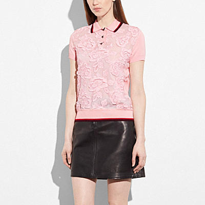 ROSE LACE POLO