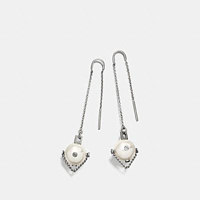 釘飾珍珠鍊穿式耳環
