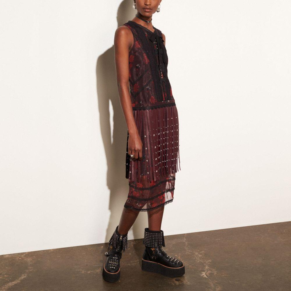Sleeveless Dress With Riveted Fringe