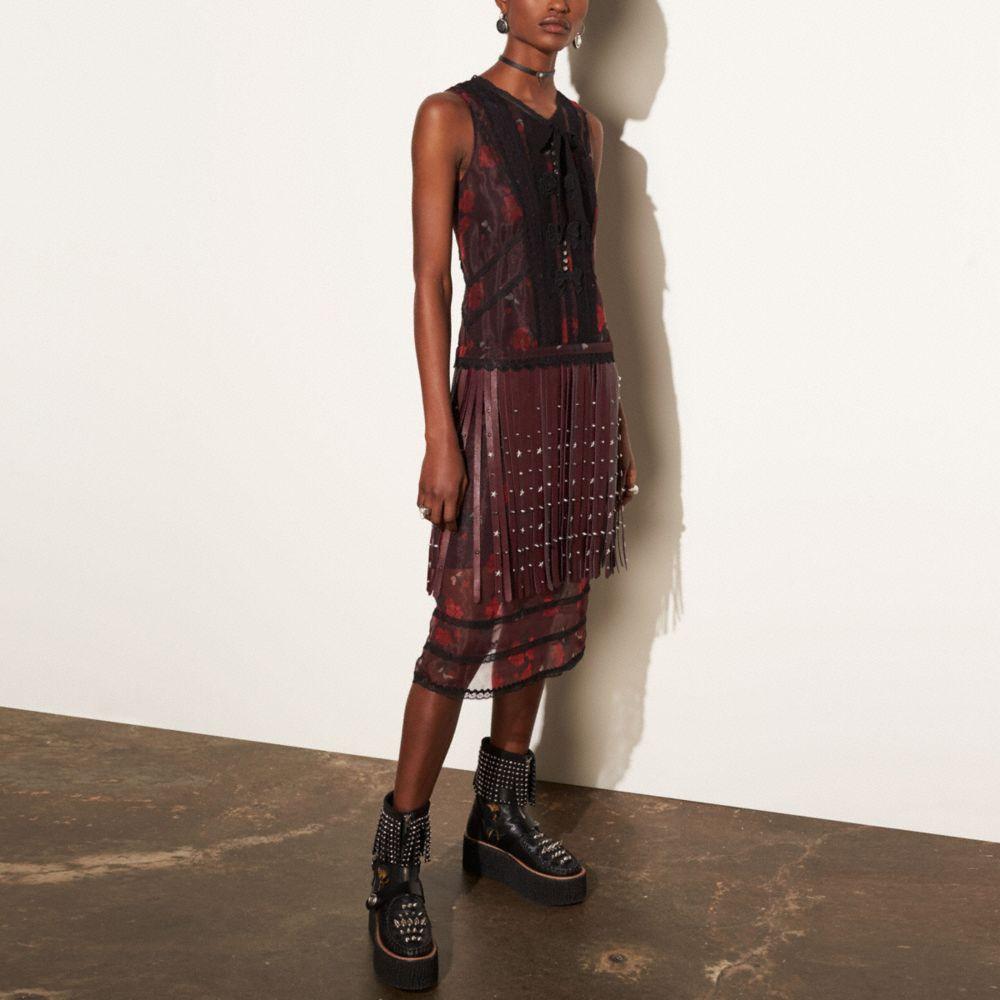 Sleeveless Dress With Riveted Fringe - Alternate View M