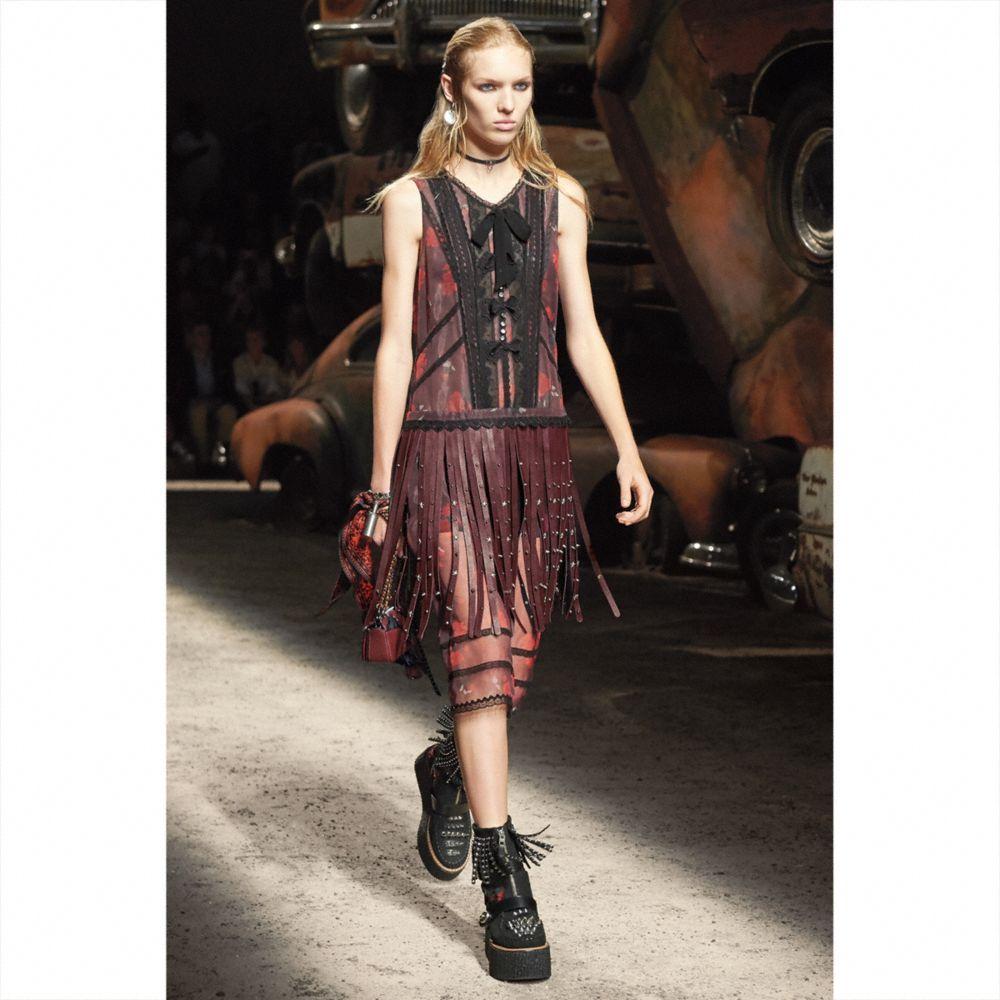 Sleeveless Dress With Riveted Fringe - Alternate View M2