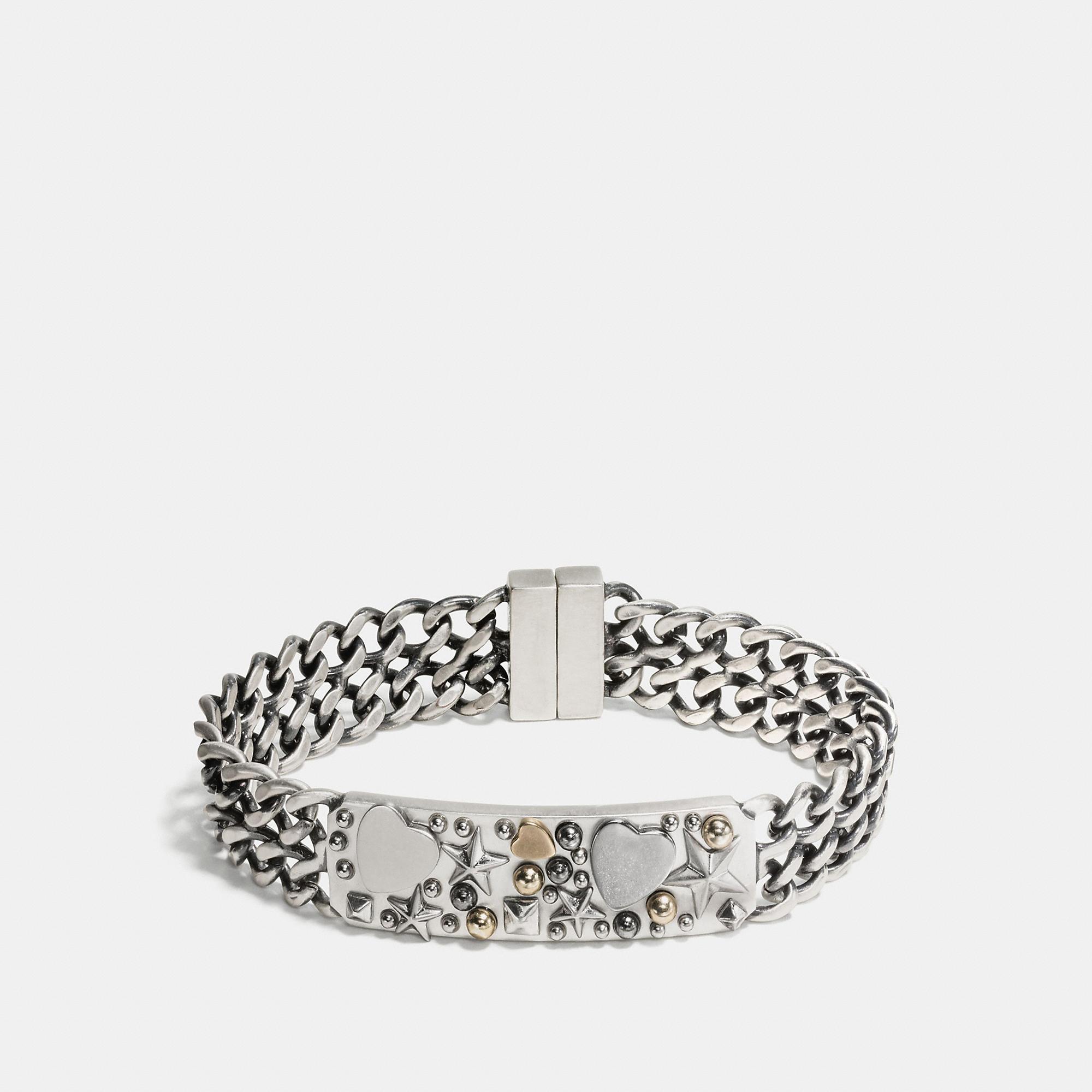 Coach Wide Cluster Chain Id Bracelet
