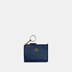 MINI SKINNY ID CASE - METALLIC BLUE/GOLD - COACH 87077