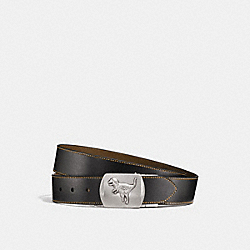 REXY PLAQUE CUT-TO-SIZE REVERSIBLE BELT - BLACK/FATIGUE - COACH 87090