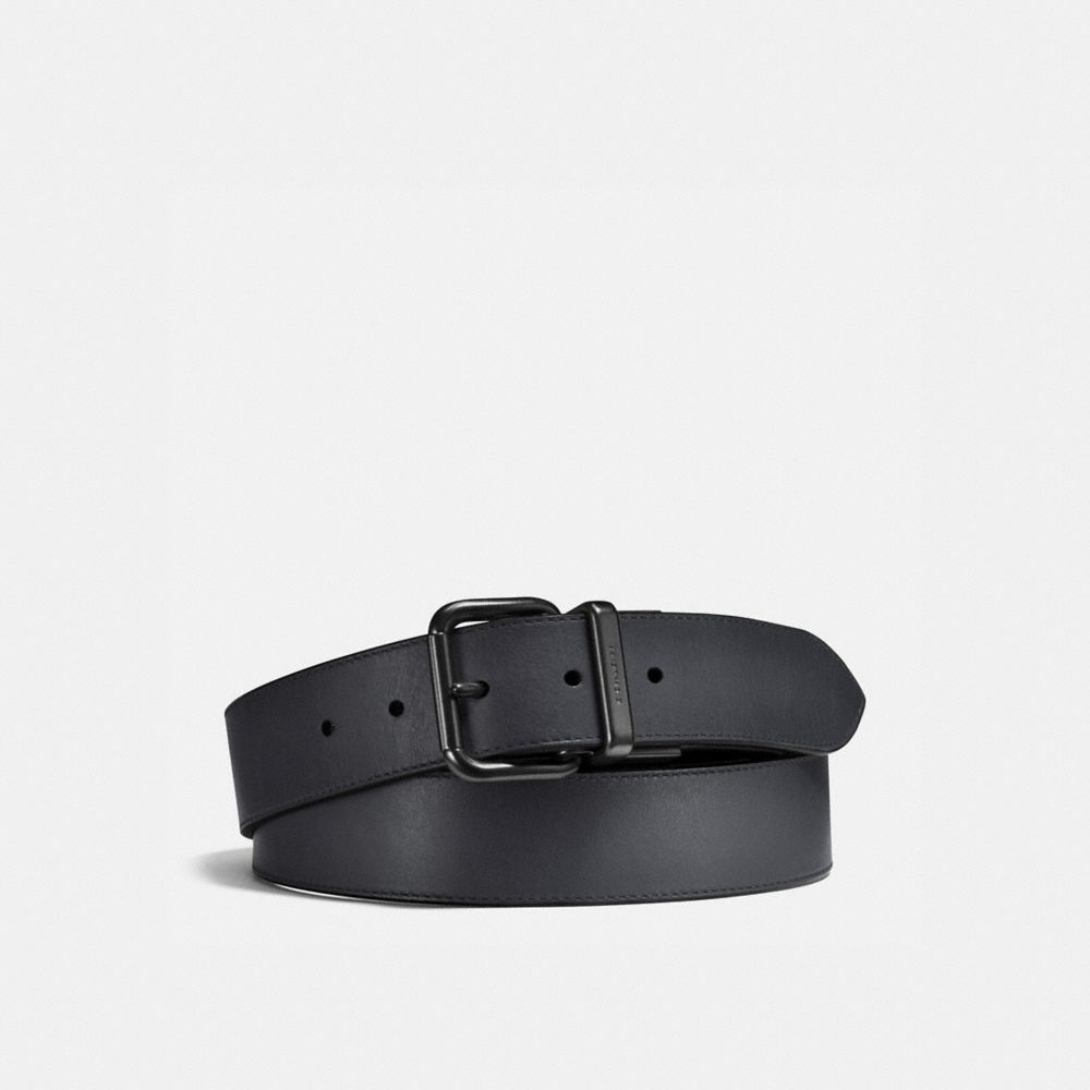 JEANS BUCKLE CUT-TO-SIZE REVERSIBLE BURNISHED LEATHER BELT - Alternate View