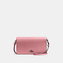 HAYDEN FOLDOVER CROSSBODY CLUTCH - TRUE PINK/GUNMETAL - COACH 87401