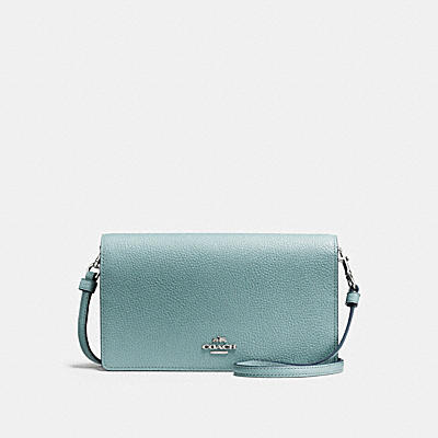 FOLDOVER CROSSBODY CLUTCH IN POLISHED PEBBLE LEATHER