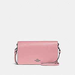 HAYDEN FOLDOVER CROSSBODY CLUTCH - LIGHT BLUSH/SILVER - COACH 87401