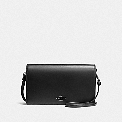 HAYDEN FOLDOVER CROSSBODY CLUTCH - BLACK/DARK GUNMETAL - COACH 87402