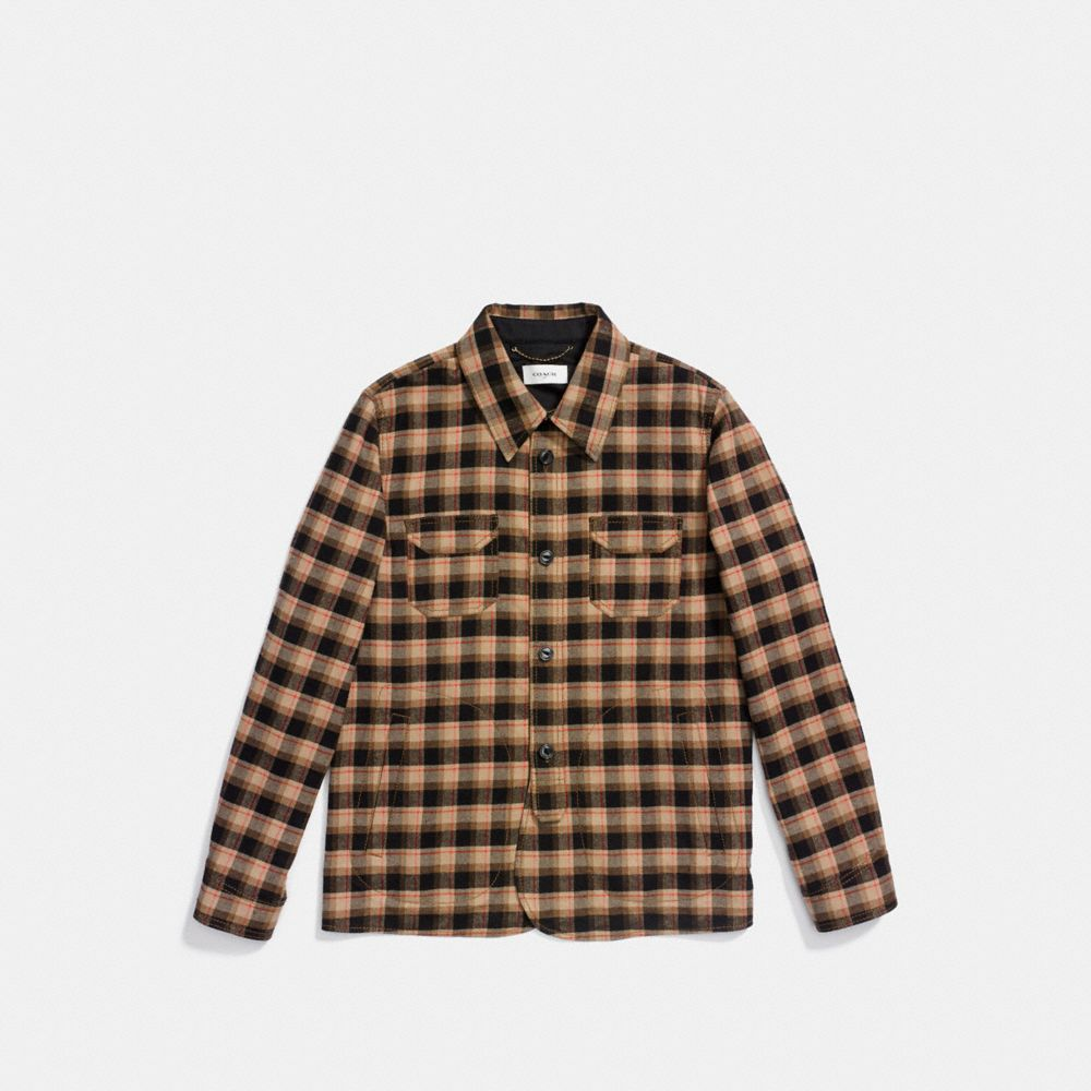 Coach Flannel Plaid Overshirt Alternate View 1