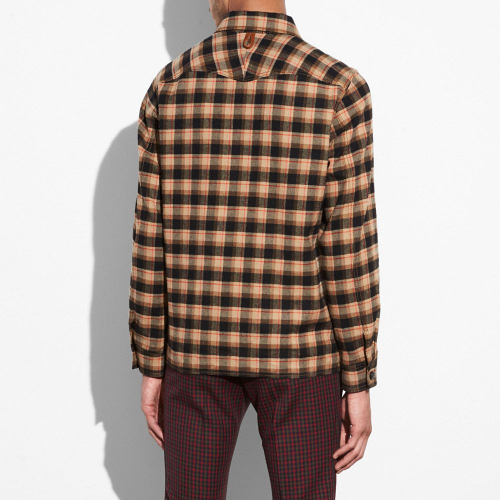 Coach Flannel Plaid Overshirt Alternate View 2