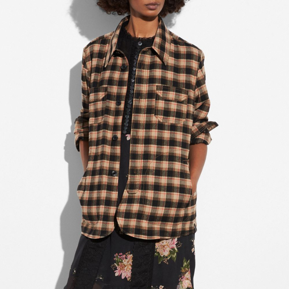Coach Flannel Plaid Overshirt Alternate View 3
