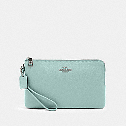 DOUBLE ZIP WALLET - SV/SEAFOAM - COACH 87587