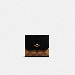 SMALL WALLET IN SIGNATURE CANVAS - IM/KHAKI/BLACK - COACH 87589