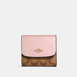 SMALL WALLET IN SIGNATURE CANVAS - IM/KHAKI BLOSSOM - COACH 87589