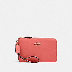 DOUBLE CORNER ZIP WRISTLET - IM/BRIGHT CORAL - COACH 87590