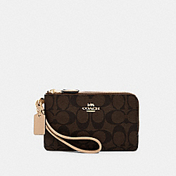 DOUBLE CORNER ZIP WRISTLET IN SIGNATURE CANVAS - IM/BROWN/METALLIC PALE GOLD - COACH 87591