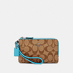 DOUBLE CORNER ZIP WRISTLET IN SIGNATURE CANVAS - SV/KHAKI/AQUA - COACH 87591