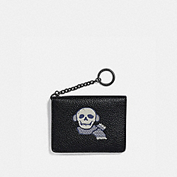 KEY RING CARD CASE WITH BONESY - GUNMETAL/BLACK - COACH 87648