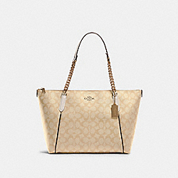AVA CHAIN TOTE IN SIGNATURE CANVAS - IM/LIGHT KHAKI CHALK - COACH 87776