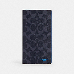 SLIM PASSPORT WALLET IN SIGNATURE CANVAS - QB/DENIM BRIGHT BLUE - COACH 87851+QBQNE