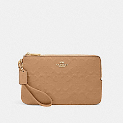 DOUBLE ZIP WALLET IN SIGNATURE LEATHER - IM/TAUPE - COACH 87934