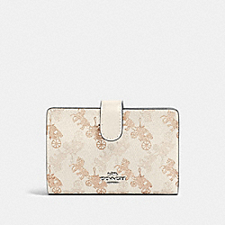 MEDIUM CORNER ZIP WALLET WITH HORSE AND CARRIAGE PRINT - SV/CREAM BEIGE MULTI - COACH 87936