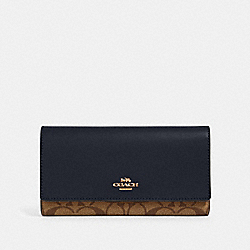 TRIFOLD WALLET IN SIGNATURE CANVAS - IM/KHAKI MIDNIGHT - COACH 88024