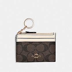 MINI SKINNY ID CASE IN SIGNATURE CANVAS - IM/BROWN/METALLIC PALE GOLD - COACH 88208