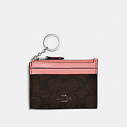 MINI SKINNY ID CASE IN SIGNATURE CANVAS - QB/BROWN PINK LEMONADE - COACH 88208