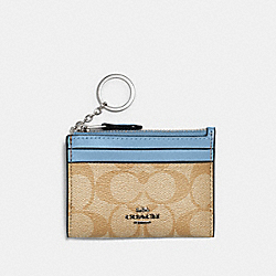 MINI SKINNY ID CASE IN SIGNATURE CANVAS - SV/LIGHT KHAKI/SLATE - COACH 88208