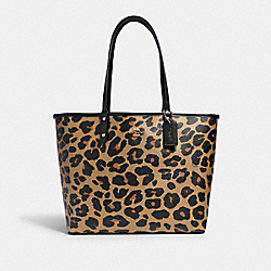 REVERSIBLE CITY TOTE WITH ANIMAL PRINT - IM/BLACK NATURAL - COACH 88319