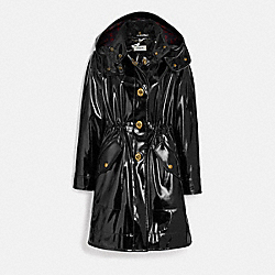 RAINCOAT WITH HORSE AND CARRIAGE PRINT LINING - BLACK - COACH 88380