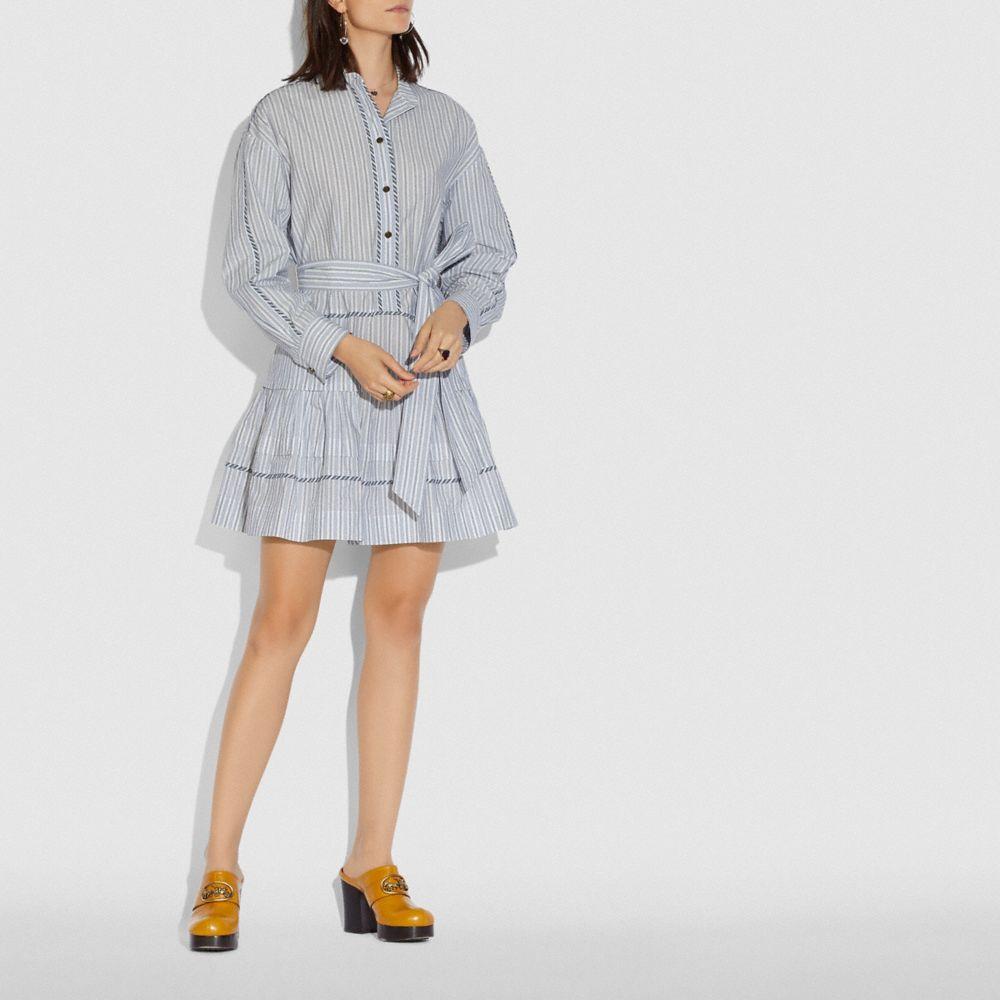 스트라이프 셔츠 드레스 위드 벨트