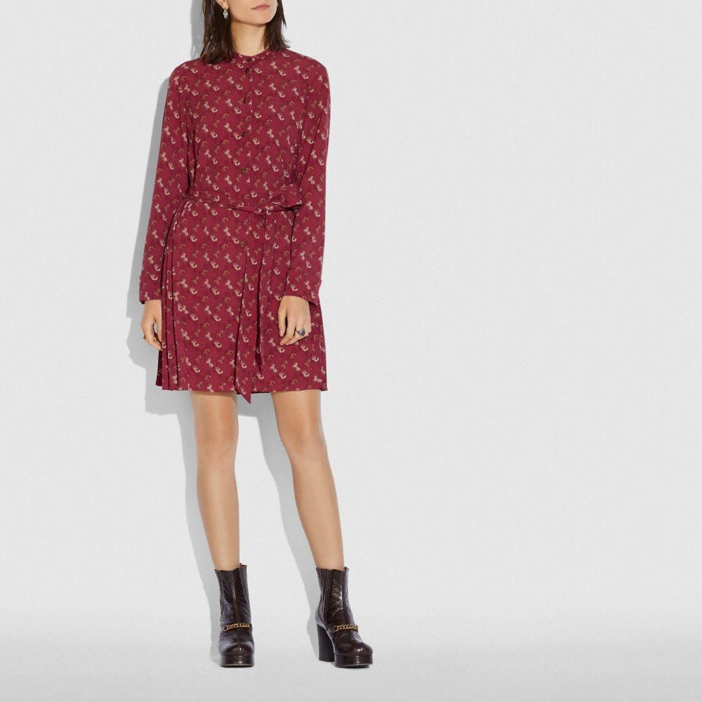 호스 앤 캐리지 프린트 플리티드 셔츠 드레스