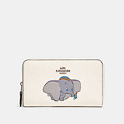 DISNEY X COACH MEDIUM ZIP AROUND WALLET WITH DUMBO - SV/CHALK - COACH 88671
