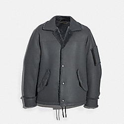 SHEARLING SNAP FRONT JACKET - IRON - COACH 88695